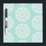 "Sea Glass Mandala Dry Erase Board<br><div class=""desc"">This white mandala sits on a light blue-green background. The colors are serene and creative. Part of the Kylgh Mandala Collection.</div>"