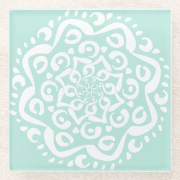 Tekoro Sea Glass Mandala Glass Coaster