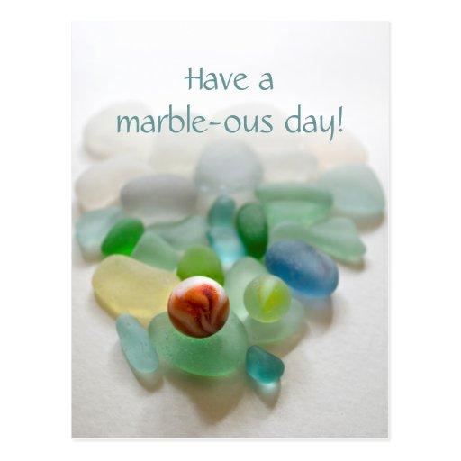 Sea glass, marble beach art photo fun post card