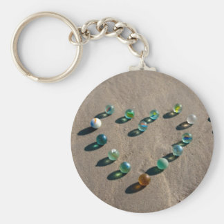 Sea Glass Marble Galore Basic Round Button Keychain