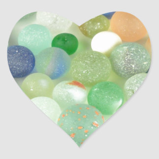 Sea Glass Marbles Heart Stickers