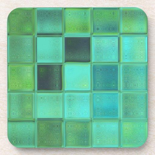 Sea Glass Mosaic Art coaster set with cork back