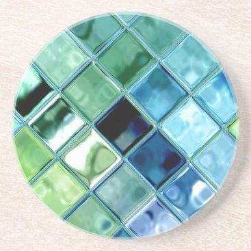 MarieFlorence Sea Glass Mosaic Tile Art Coaster