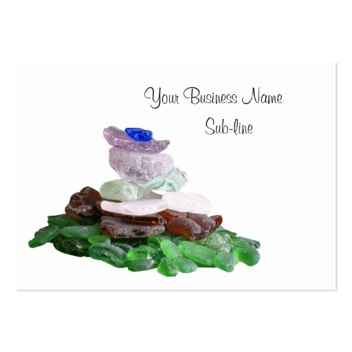 Sea Glass Pyramid and Pink Murex Seashell Business Card