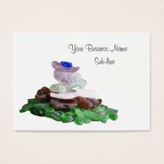 Sea Glass Pyramid and Pink Murex Seashell Business Card