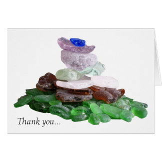 Sea Glass Pyramid Thank You Stationery Note Card