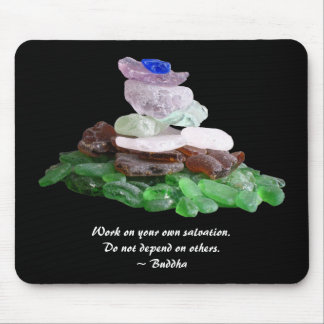 Sea Glass Pyramid With Buddha Quote Mouse Pad