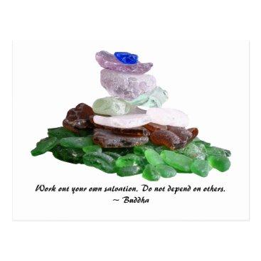 lasgalenarts Sea Glass Pyramid With Buddha Quote Postcard