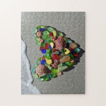 Beach Themed Sea glass rare bright colors photo jigsaw puzzle