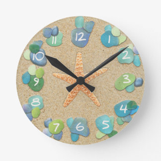 Sea Glass Sand Starfish Round Clock