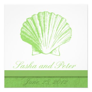Sea Glass Shell Beach Wedding Invitations