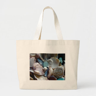 Sea Glass Shell Collected Large Tote Bag