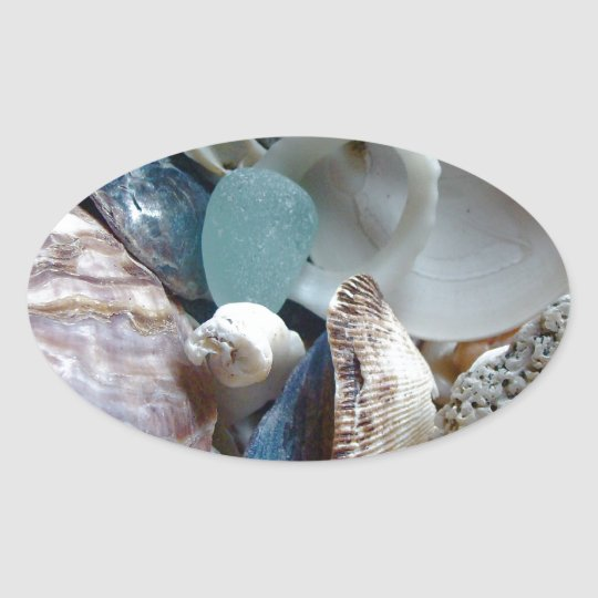 Sea Glass Shell Collected Oval Sticker