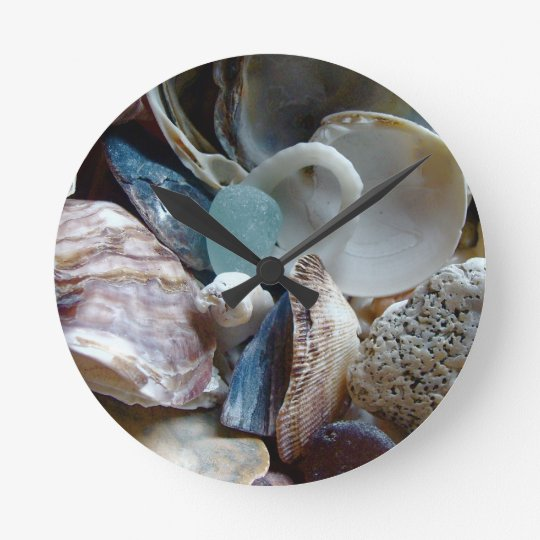 Sea Glass Shell Collected Round Clock