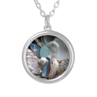 Sea Glass Shell Collected Silver Plated Necklace
