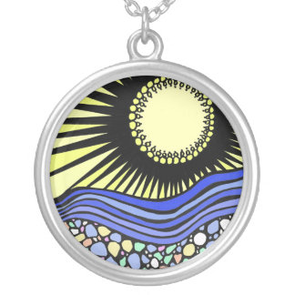Sea Glass Sunrise (color) Silver Plated Necklace