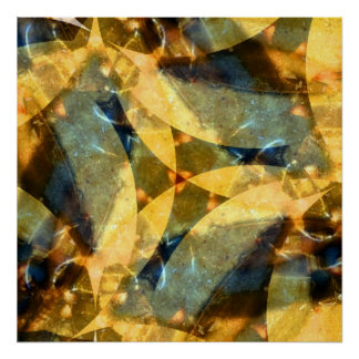 Sea Glass Waltz in Blue and Gold Poster