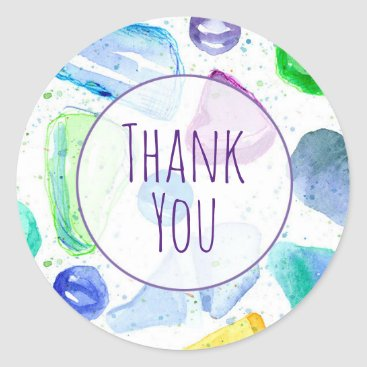 CountryGarden Sea Glass Watercolor Custom Thank You Classic Round Sticker