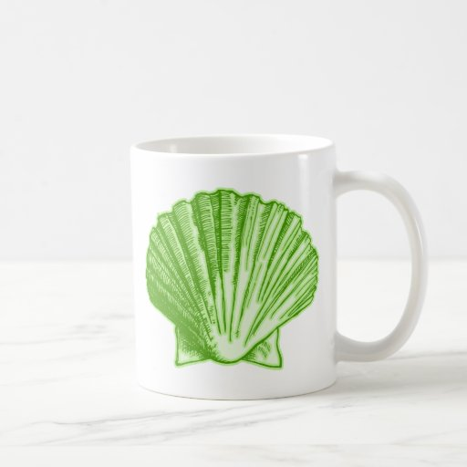 Sea Grass Green Tropical Island Seashell Coffee Mug