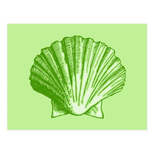 Sea Grass Green Tropical Island Seashell Postcard