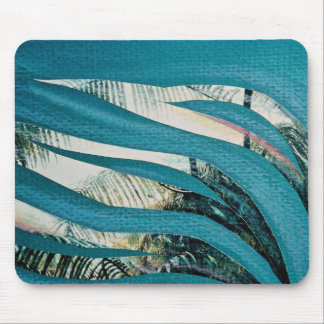 Sea grasses, mixed media, collage on paper mouse pad
