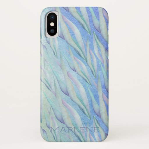 Sea Grasses Watercolor Print Personalized iPhone XS Case