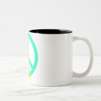 Sea Greeen Peace & Ribbon Two-Tone Coffee Mug