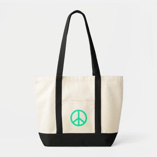 Sea Greeen Peace Sign Tote Bags