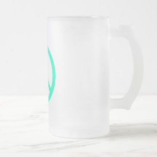 Sea Greeen Peace Sign Frosted Glass Beer Mug