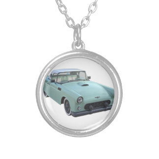 Sea Green 50's Sports Car Round Pendant Necklace