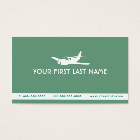 Sea green airplane symbol business cards