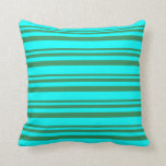 [ Thumbnail: Sea Green and Aqua Colored Pattern Throw Pillow ]