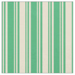 [ Thumbnail: Sea Green and Beige Lined/Striped Pattern Fabric ]