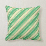 [ Thumbnail: Sea Green and Beige Lined/Striped Pattern Pillow ]