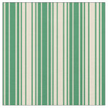 [ Thumbnail: Sea Green and Beige Pattern of Stripes Fabric ]