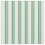 [ Thumbnail: Sea Green and Beige Striped Pattern Fabric ]