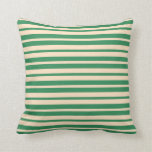 [ Thumbnail: Sea Green and Bisque Colored Pattern Throw Pillow ]