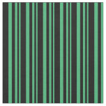 [ Thumbnail: Sea Green and Black Colored Stripes/Lines Pattern Fabric ]
