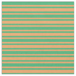 [ Thumbnail: Sea Green and Brown Colored Stripes/Lines Pattern Fabric ]