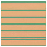 [ Thumbnail: Sea Green and Brown Lined/Striped Pattern Fabric ]