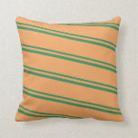 [ Thumbnail: Sea Green and Brown Lined/Striped Pattern Pillow ]