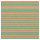 [ Thumbnail: Sea Green and Coral Colored Lined/Striped Pattern Fabric ]