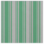 [ Thumbnail: Sea Green and Dark Grey Colored Lined Pattern Fabric ]