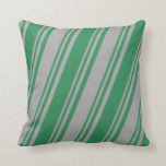 [ Thumbnail: Sea Green and Dark Grey Colored Lined Pattern Throw Pillow ]