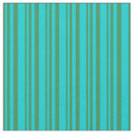 [ Thumbnail: Sea Green and Dark Turquoise Colored Stripes Fabric ]