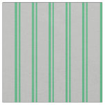 [ Thumbnail: Sea Green and Grey Colored Striped Pattern Fabric ]