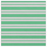 [ Thumbnail: Sea Green and Light Gray Lined Pattern Fabric ]