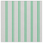 [ Thumbnail: Sea Green and Light Grey Colored Stripes Pattern Fabric ]
