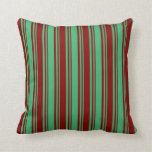 [ Thumbnail: Sea Green and Maroon Colored Pattern Throw Pillow ]