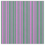 [ Thumbnail: Sea Green and Orchid Colored Stripes Fabric ]